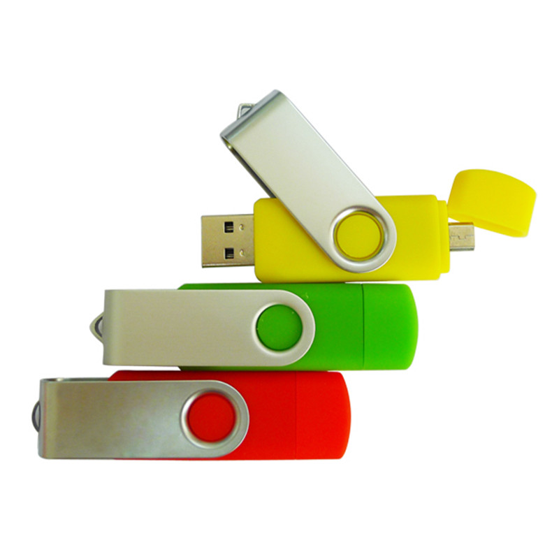 Free shipping pendrives creativos swivel dual usb port 4gb 8gb 16gb mini pen drive 32 gb otg usb 2.0 android