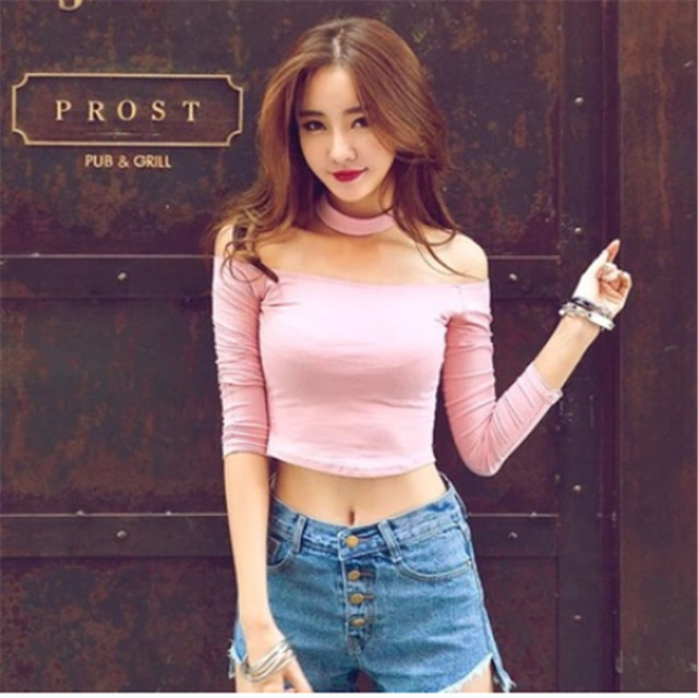 a26389019d3d01 Halter Chocker Slit Sexy Off shoulder Slash Neck Women Crop Top T Shirt  Full Sleeve Female Teenage Girls Femmes t-shirt