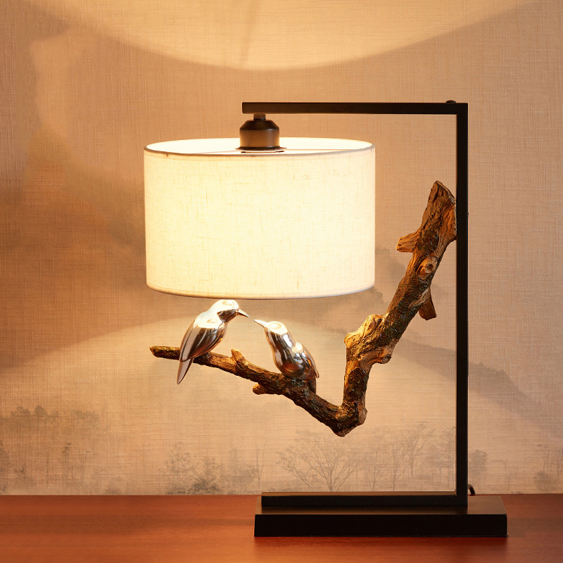 Retro Resin Table Lamp Desk Lamp A pair of Kissing Birds On A Branch Light Creativity Brief Table Light Bedroom Bedside Lights