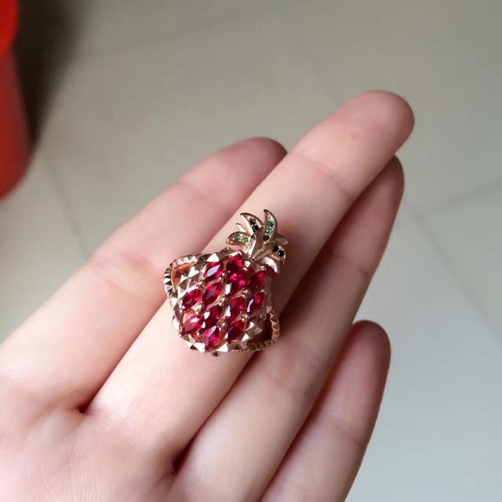 2017 Qi Xuan_Fashion Jewelry_Red Stone Simple Elegant Woman ...