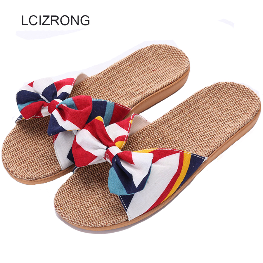 LCIZRONG Summer 7 Colors Bohemia Hemp Women Slippers Summer Print Flax Butterfly-knot Flat Shoes Non-slip Home Slippers Female butterfly print v neck asymmetric slip top