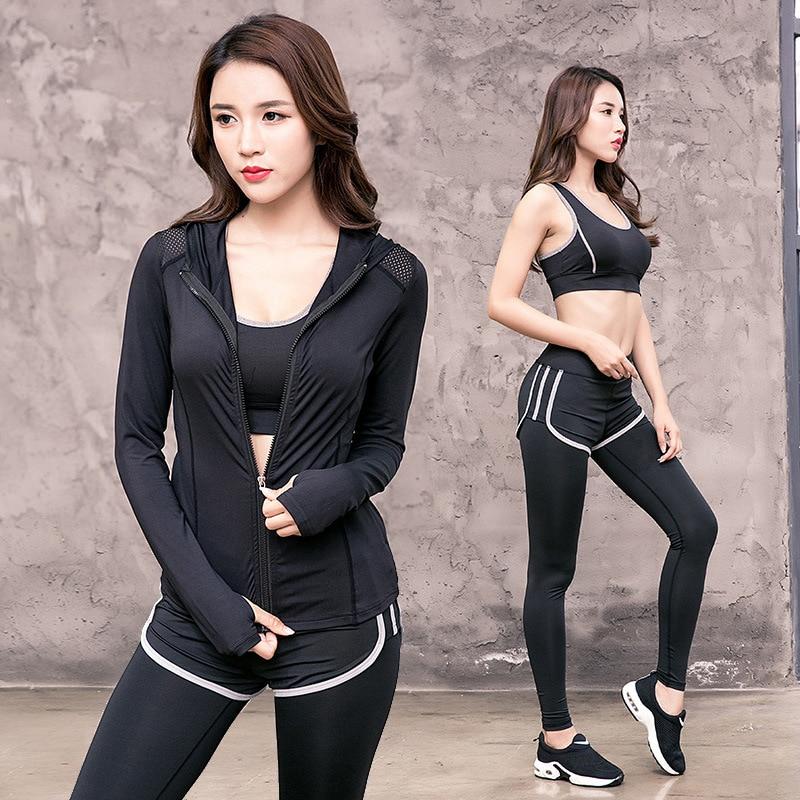 3 Stuk Vrouwen Yoga Sets Roze Brief Sport Slijtage Vrouwen Fitness Sport Bh + Yoga Broek + Shorts Sport Set Workout Gym Kleding