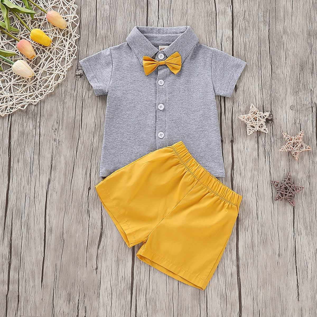 Summer Boys Clothes Set Fashion Newborn Clothes Infant Clothing Solid Kid Clothes Shorts Newborn Clothing Boys Set Ropa Nina
