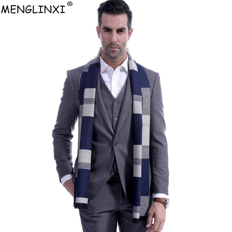 Big Plaid Men Scarf Brand Winter Warm Scarves Fashion Autumn Scarf Best Christmas Gift Man Casual Business Scarves Warps