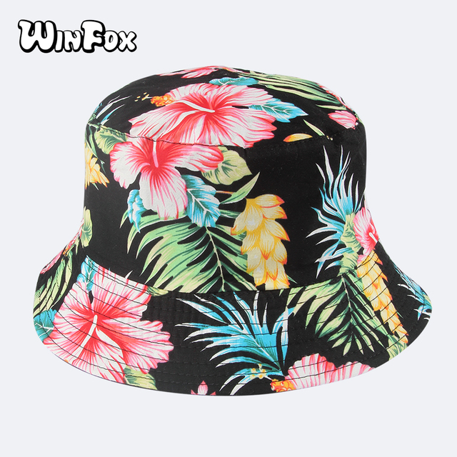 Winfox 2018 Fashion Summer Reversible Black Floral Flower Bucket Hats Caps  Gorro Pescador Fisherman Hats For Mens Womens 7777c09fbd9