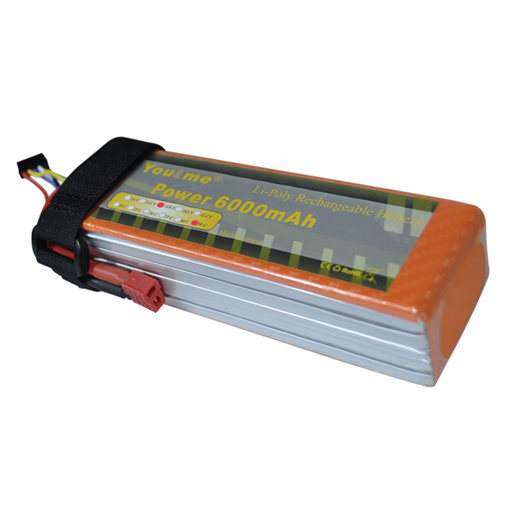 Youme 14.8V 6000mah 50C Burst 100C Lipo 4S Battery AKKU Li-Polymer Battery Bateria for RC Helicopter Car Boat Quadcopter wild scorpion rc 18 5v 5500mah 35c li polymer lipo battery helicopter free shipping