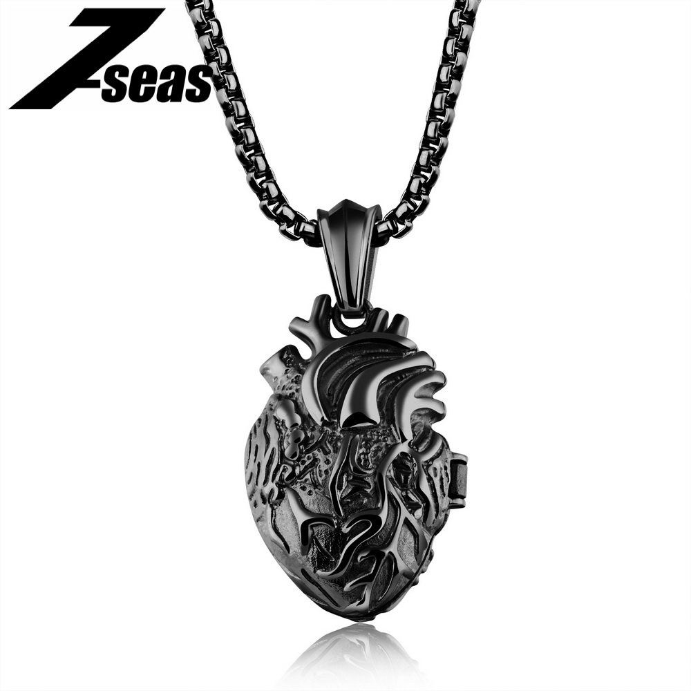 7SEAS Punk Style Heart Pendant Necklace For Man Open Anatomical Heart Shape Jewelry Men Necklace Best Gift For Women/Men JM1168 chic style rhinestone crescent decorated cuboid shape pendant necklace for men