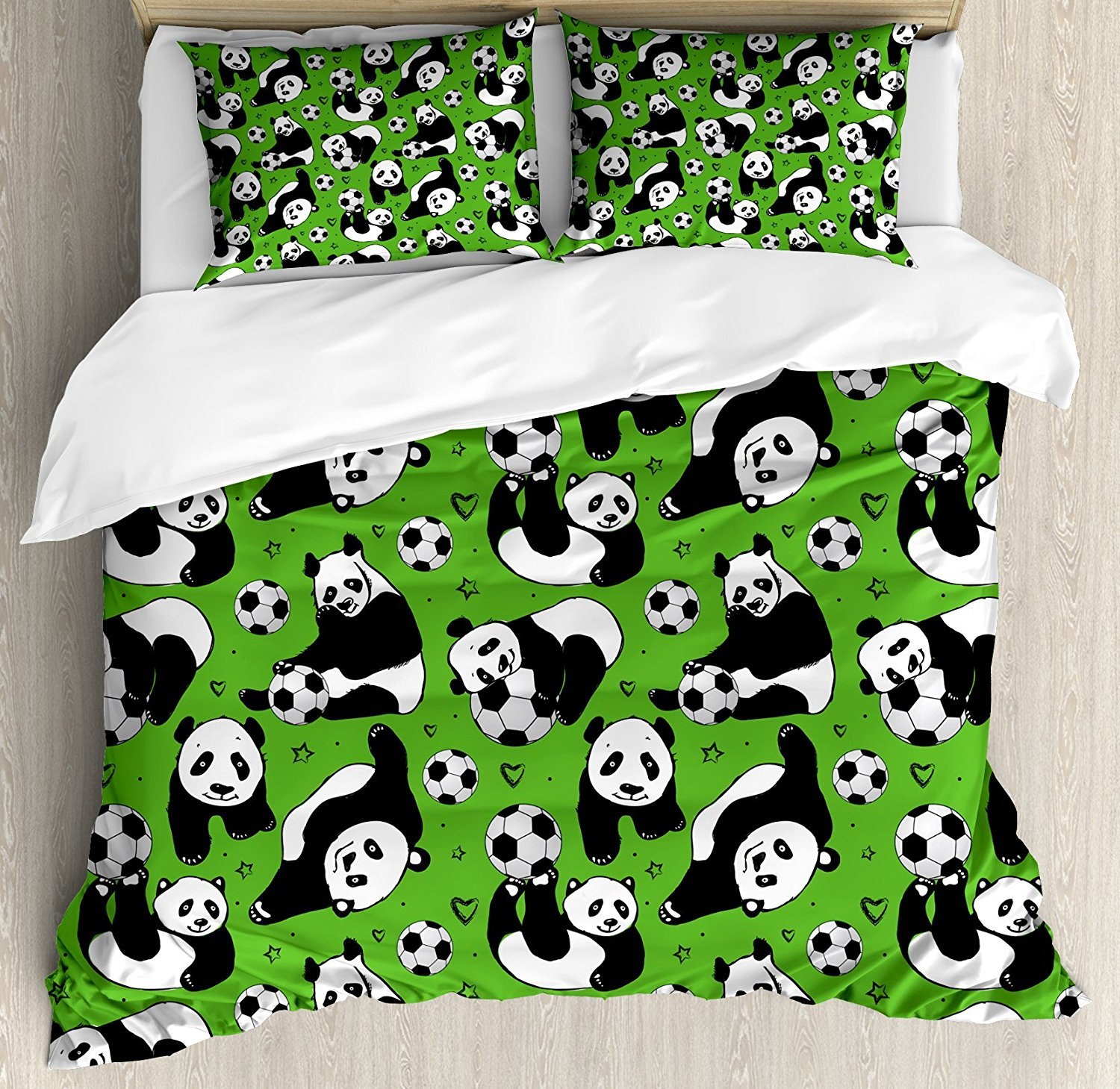 Soccer Duvet Cover Set Funny Panda Animals Playing with Balls Hand Drawn Style Hearts and Stars, 4 Piece Bedding Set