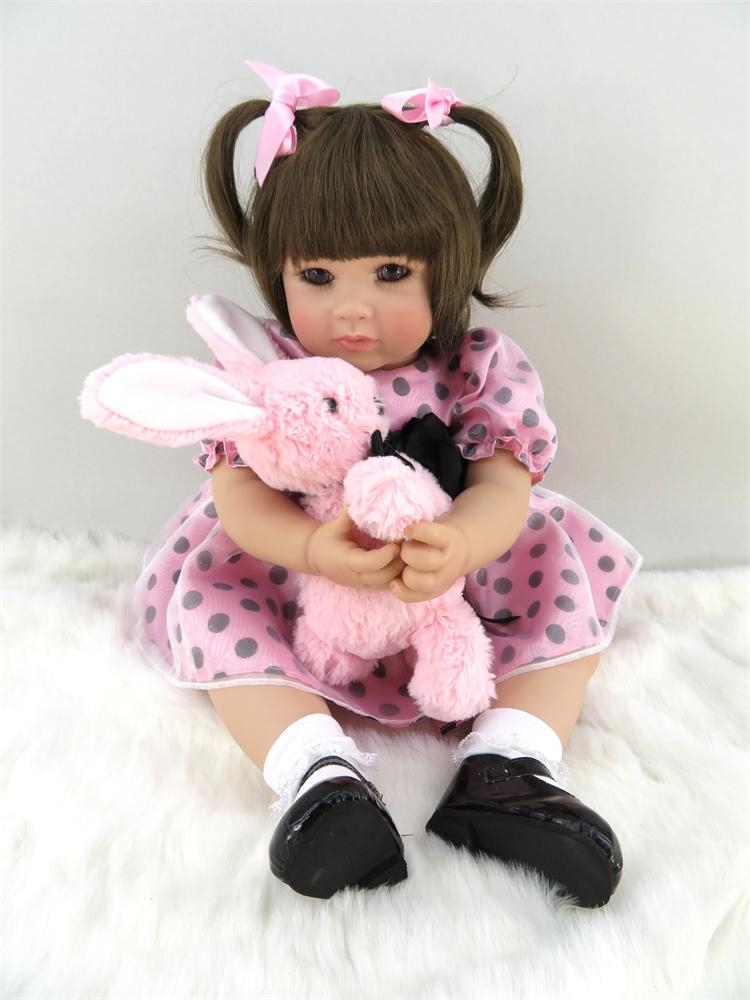 50cm Silicone Vinyl Reborn Baby Doll Toys Like Real Princess Girl Toddler Girl Doll with Plush Rabbit Play House Bedtime Toy Gif 2016 hot selling 22cm the first sofia princess dolls toys sophia clover cartoo toys rabbit plush doll