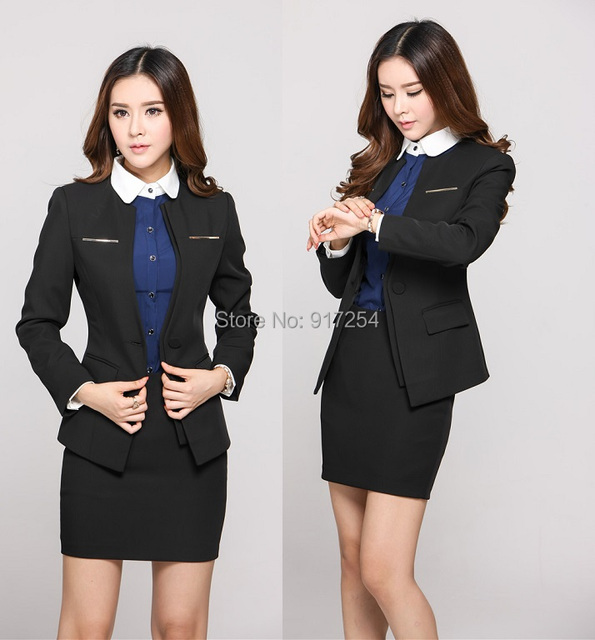 Plus Size 4XL Elegant Black 2015 Femininos Autumn Winter Professional Business Suits With Skirt Beautician Uniforms Clothing Set