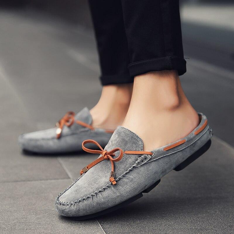 2019 Frühling Männer Mode Maultiere Schuhe Casual Wildleder Leder Männer Rutschen Schmetterling-knoten Mann Flache Halbe Hausschuhe Komfortable