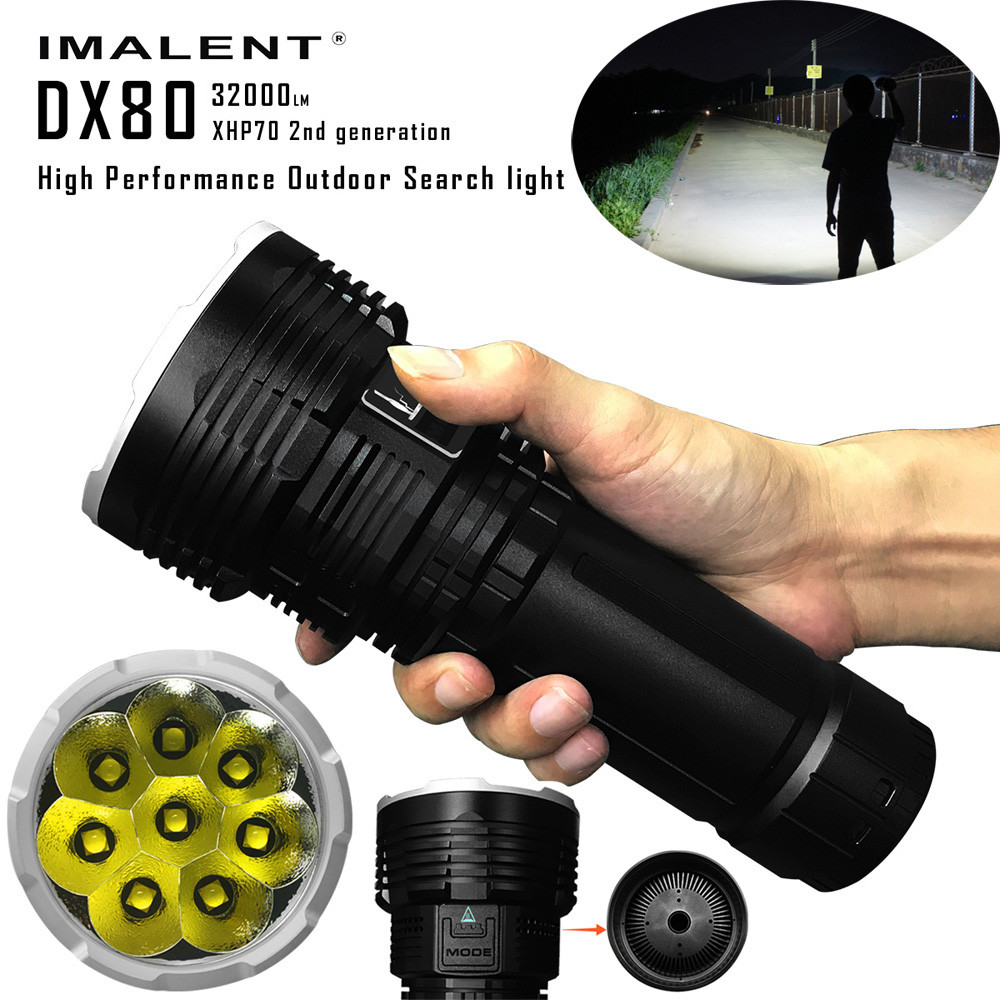 IMALENT DX80 Cree XHP70 LED Flashlight 32000 Lumens 806 Meters USB Charging Interface Torch Flashlight for Search ipx 8 waterproof tactical torch imalent dn35 usb rechargeable cree xhp70 2200 lumens led flashlight self defense 26650 battery