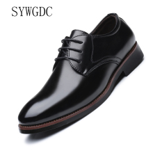 SYWGDC Men Dress Shoes Pu Leather Formal Lace-Up Business Classic Wedding Drop Shipping Big Size