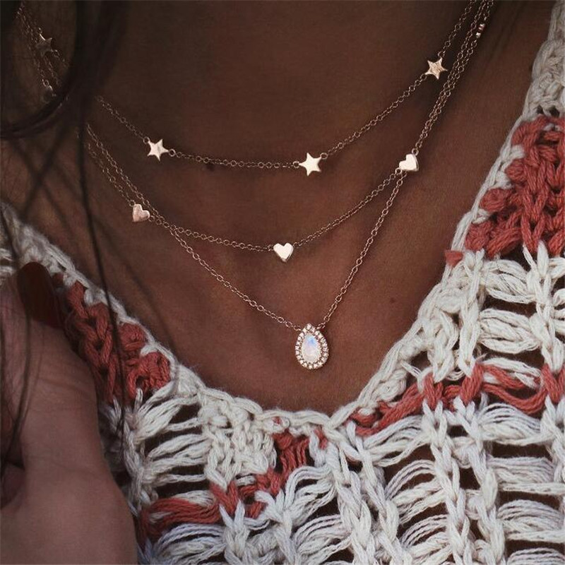 Beautiful Multi-Layer Star Heart Water Drop Pendant Necklace For Women Gold Color Mosaic Crystal Choker Wedding Gift