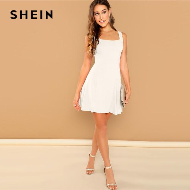 SHEIN Going Out White Fit Flare Solid Sleeveless Straps Zipper Short Plain Dress Elegant Women Autumn Modern Lady Dresses 6