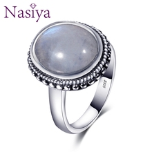 Nasiya Elegant Simple Oval Moonstone Rings For Women Girls 925 Sterling Silver Fine Jewelry Anniversary,Engagement,Party Gift