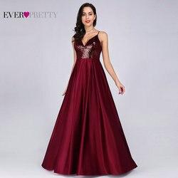 Длинные атласные платья Ever Pretty, красное вечернее платье с V-образным вырезом, пайетками, открытой спиной, для выпускного, EP07859, весна-лето 2019
