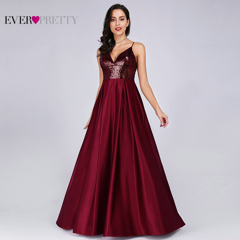 Prom Dresses Satin 2019 Ever Pretty EP07859 Sexy V-neck Sequined Backless Red Long Formal Party Gowns Cheap Prom Long Elegant