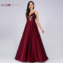Prom Dresses Satin 2020 Ever Pretty EP07859 Sexy V neck Sequined Backless Red Long Formal Party Gowns Cheap Prom Long Elegant