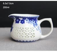 中国ユニークな透かし Gongfu ティーカップ徳化セラミックスティーカップハンド塗装フィルターカップ茶海、 1 個 gongdao ティーカップ