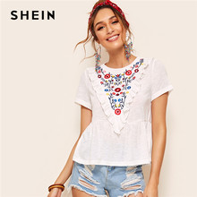 SHEIN Boho Cute Embroidery Floral Ruffle Trim Peplum Top White T Shirt Women Summer Round Neck Flared Hem Casual Tops T-shirts(China)