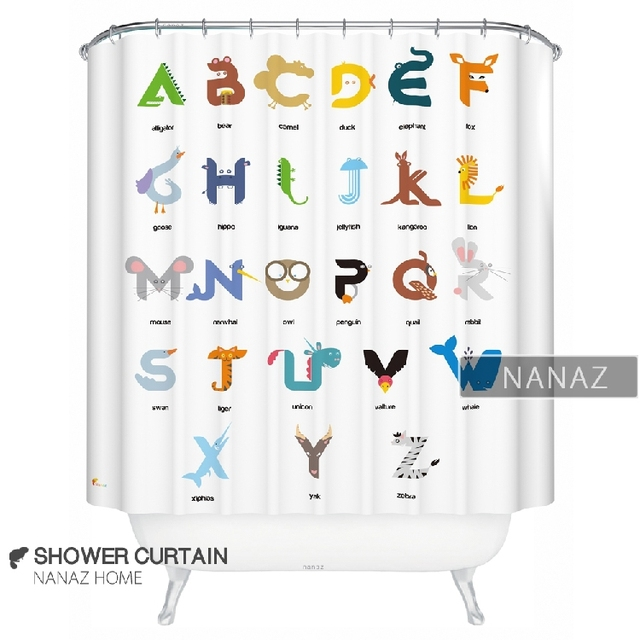 shower curtain cartoon bathroom products preschool education polyester nanaz home inspired abstract alphabet