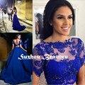 Azul Royal 2 Peça Prom Vestidos de Festa Sexy Backless Sheer colheita Top Applique Frisado Vestido de Noite Longo 2016 Mulheres Árabes vestido