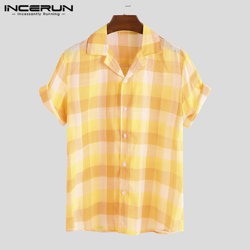 INCERUN 2019 Summer Men Hawaiian Shirt Cotton Multicolor Plaid Button Short Sleeve Streetwear Blouse Casual Shirt Men Camisa 5XL