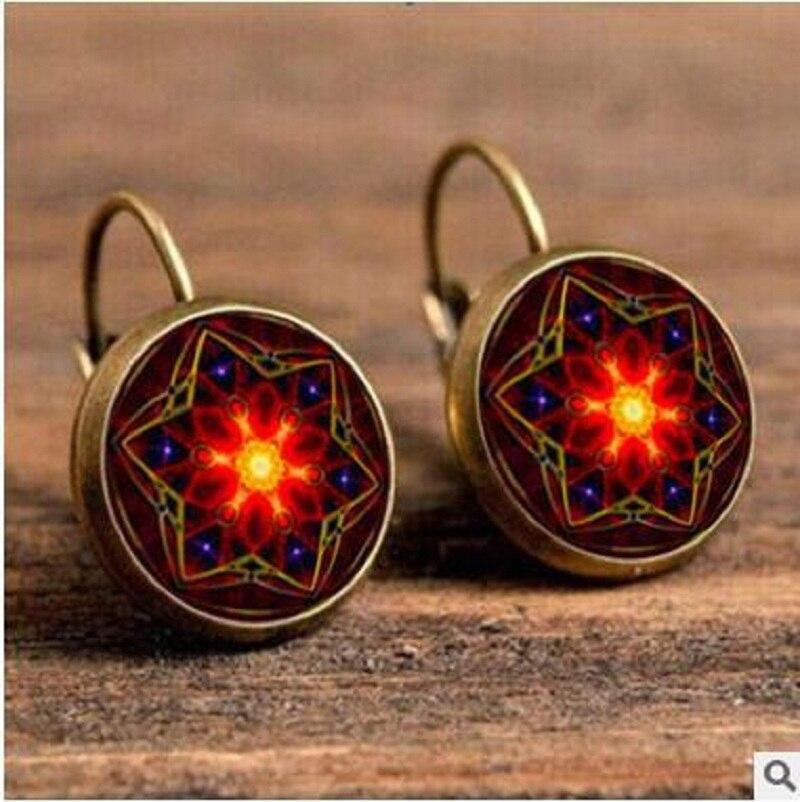 Exknl Boho Flower Drop Earrings For Women Vintage Jewelry Geometric Pattern Round Earings Bijoux boucles d'oreilles bohemia 14