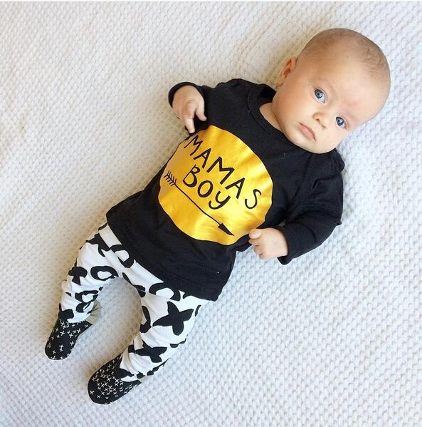2pcs Newborn Baby Boys Clothes Set Gold Letter MAMAS BOY Outfit T-shirt Pants Kids Autumn Long Sleeve Tops Baby Boy Clothes Set 8