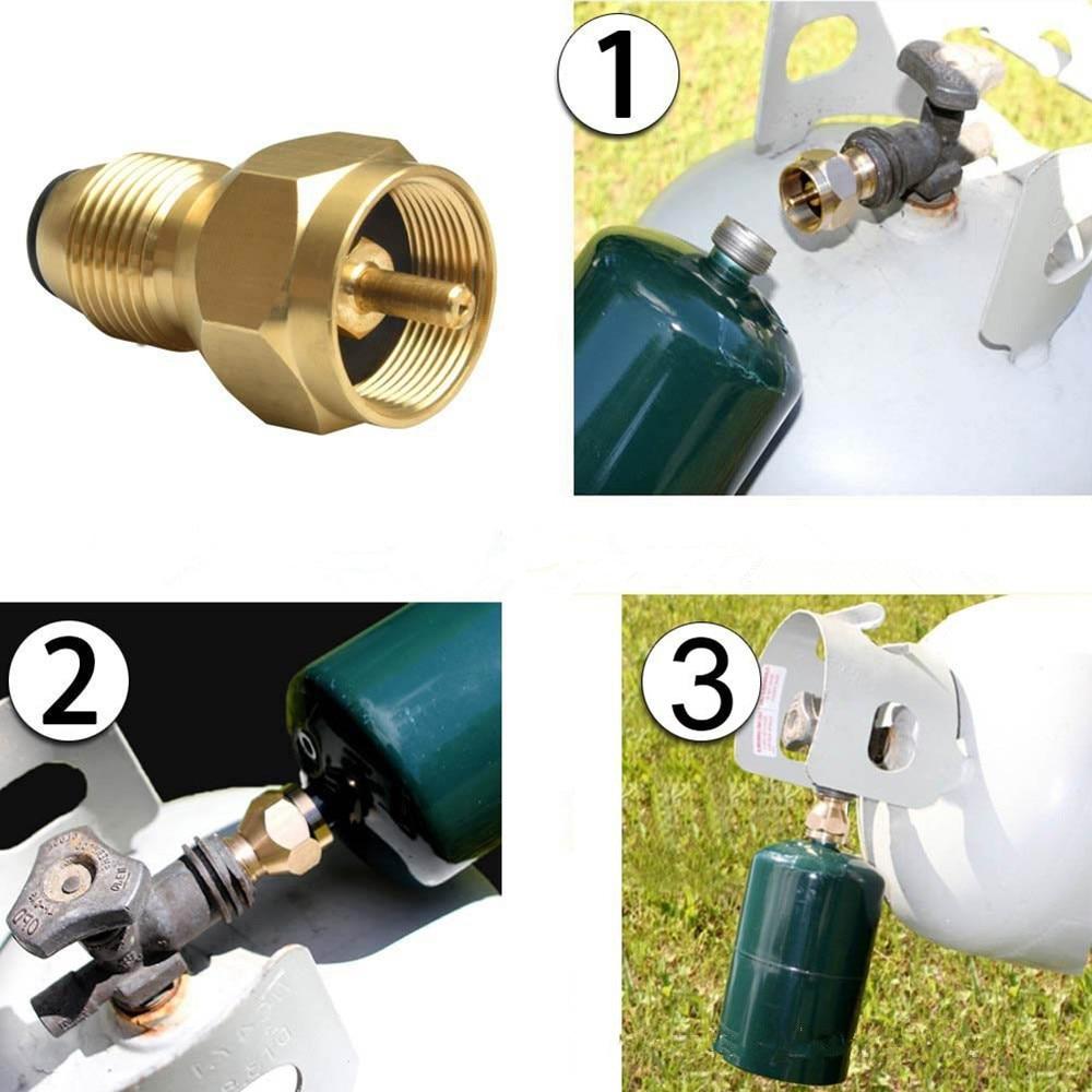Gold Color Propane Refill Adapter Lp Gas 1 Lb Cylinder Tank Coupler Heater 100% Brass