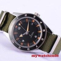 41 мм deber черные стерильные циферблат сапфировое стекло Miyota автоматические мужские часы D11B