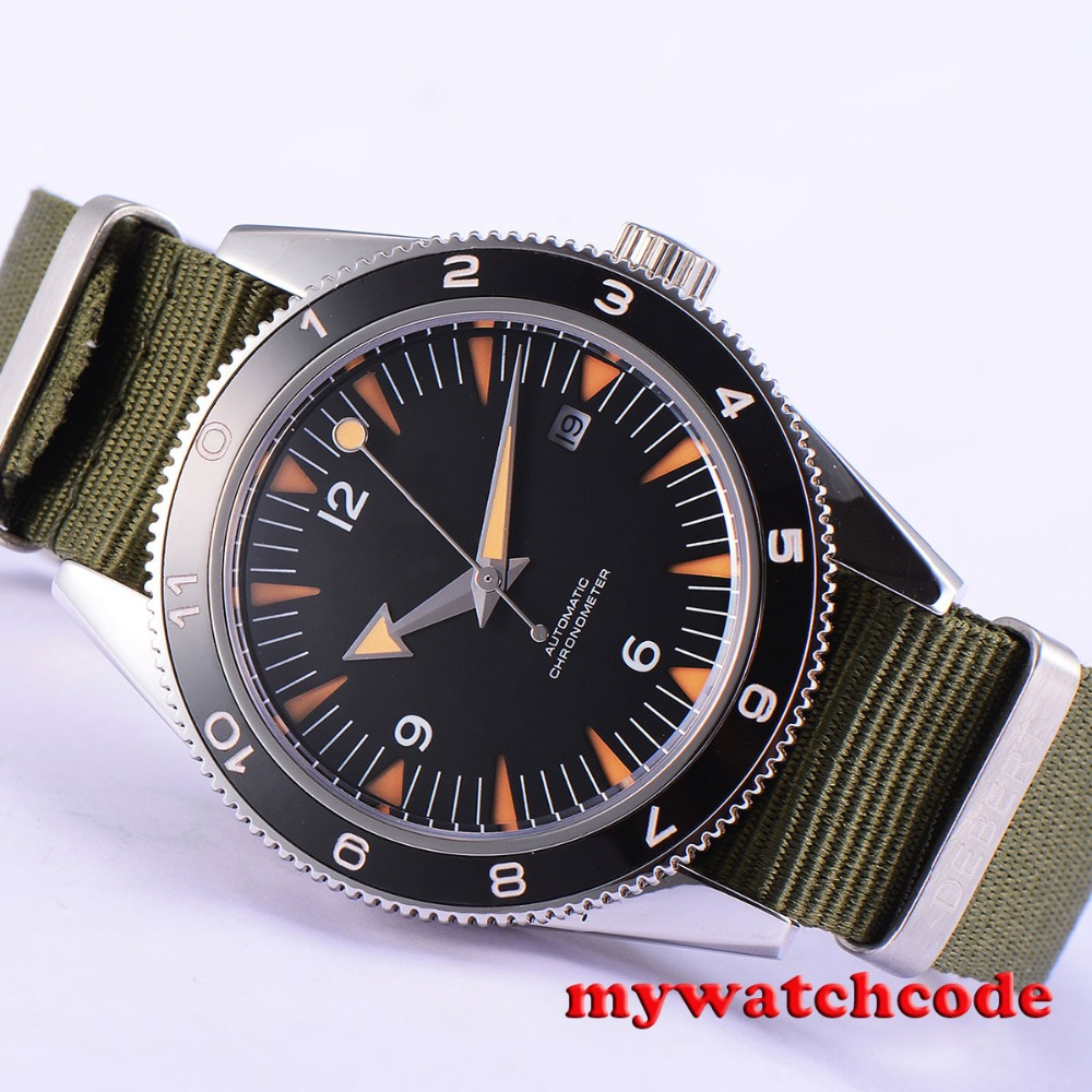 41mm debert black sterile dial sapphire glass miyota Automatic mens Watch D11B цена и фото
