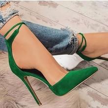 Sandália feminina ponta fina, sapatos de salto alto fino com cadarço para mulheres