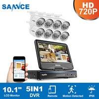 SANNCE HD 5in1 10 1inch Displayer CCTV System 1080N 8CH DVR 8PCS 720P IR CCTV Cameras