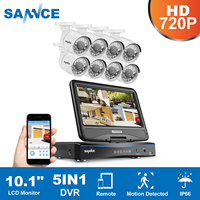 SANNCE HD 5in1 10 1inch Displayer CCTV System 1080N 8CH DVR 8PCS 720P IR CCTV Cameras