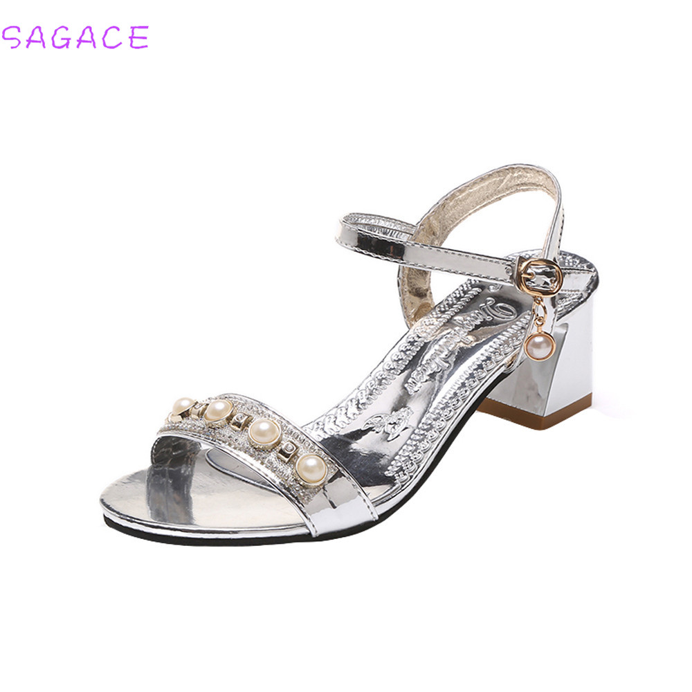 CAGACE 2018 New Women Sandals Summer Style Pearl Sandals Women Fashion Open  Toe Shoes Bohemia Higt Heel Shoes 7b1019bef2d2