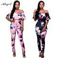 Adogirl 2016 Bodycon jumpsuits Off Shoulder Print Plus Size 4XL Rompers Womens Jumpsuit Outfits Sexy Jumpsuits combinaison femme