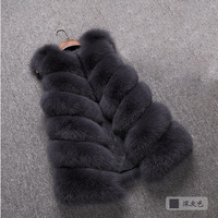 Fur vest 2017 new imitation fox fur stitching long vest women coat