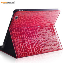 Fineshow Crocodile Leather Tablet Case for iPad 4 3 2 / Wake up Sleep Smart Cover Flip Case with Holder Stand Fashion Capa