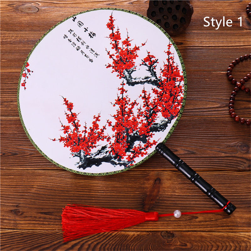 Chinese Japanese Style Female Round Fans Classical  Dance Fan  Handheld Circular  Vintage Fan With Tassel Pendant
