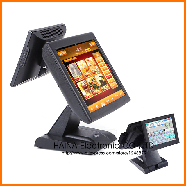 15 Inch All In One POS Terminal Dual Touch Screen POS Machine, All In One PC Dual Screen Touch POS System Desktop Computer