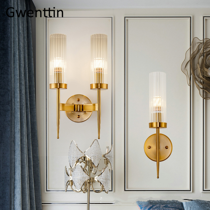 Modern Gold Wall Lamp Led Nordic Mirror Wall Light Fixtures Glass Sconce for Living Room Bedroom
