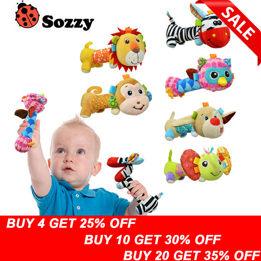 Sozzy Mirror Plush Handbells Toys Baby Rattles Cartoon Animal BB Toy Stuffed Infant Grasping Rattle Toddler Tinkle Hand Bell