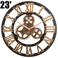 3D Retro Rustic Vintage Wooden 23 Inch Noiseless Gear Wall Clock, Roman Anti Bronze