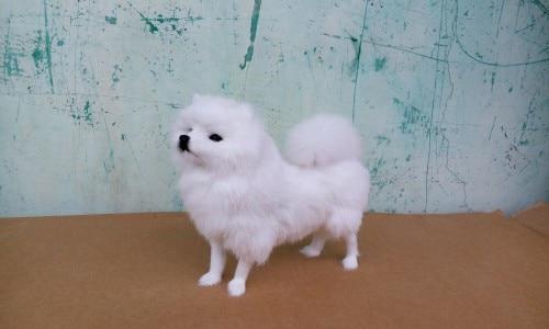 simulation white Pomeranian large 23x20cm model toy lifelike Pomeranian dog model,handicraft ,decoration gift t396
