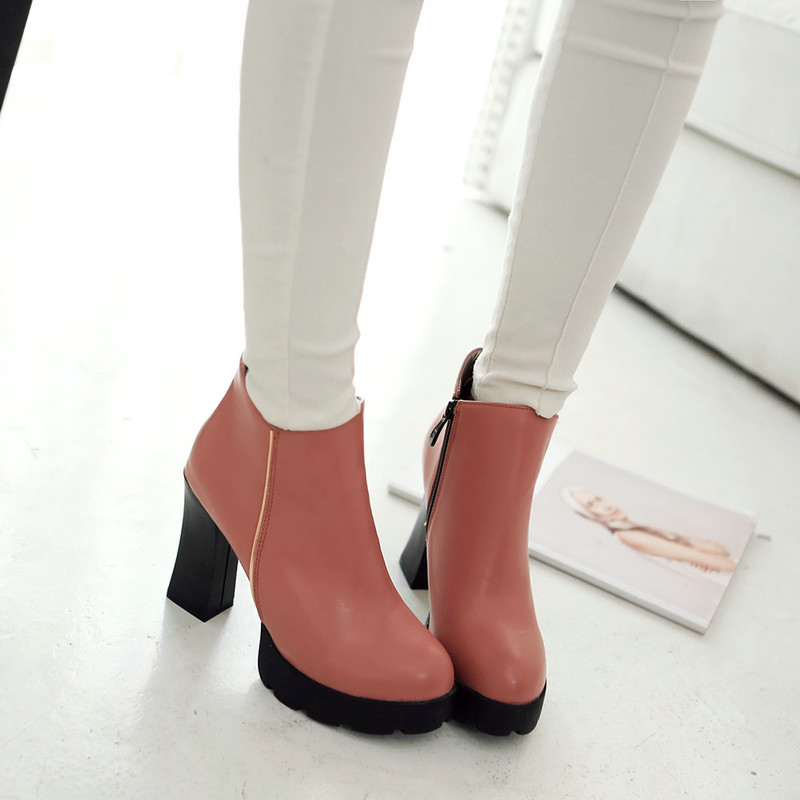 ФОТО Size 34-43 Winter ladies shoes Fashion Zipper Round Toe Solid PU leather Med Heel Ankle Boots Concise Women Shoes 3colour Pink