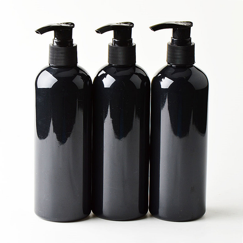20pcs 300ml Black Cosmetic PET Bottles, Empty Shampoo Lotion Pump Container Plastic Cosmetic Packaging With Dispenser,shower Gel