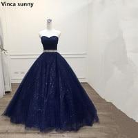 Vinca Sunny 2018 Robe De Mariage Princess Bling Bling Luxury Navy Blue Ball Gown Evening Dress