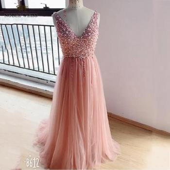 NOBLE WEISS V-neck Evening Gown 2019 Sexy Crystal Beading Split Tulle Prom Dress Floor Length Evening Dress vestido longo festa 3
